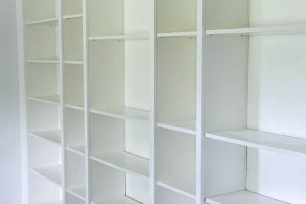billy bookcases put together with holes filled