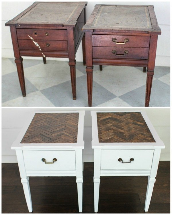herringbone end tables before and after