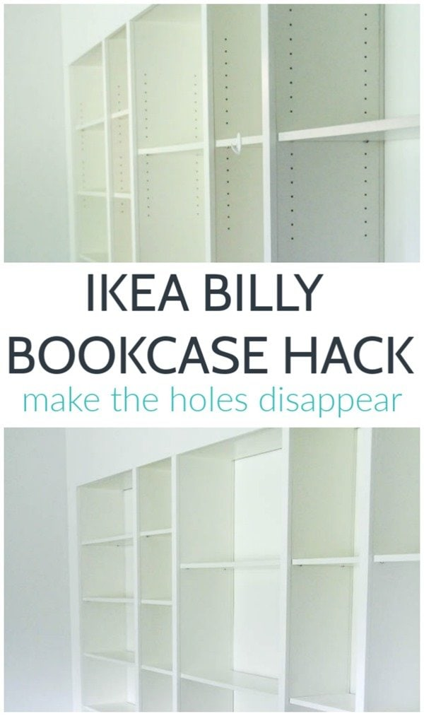 This is such an easy Billy Bookcase hack and it makes such a difference. This trick for filling the holes in IKEA bookcases is quick, easy, and inexpensive. And it definitely makes your IKEA furniture look more expensive!