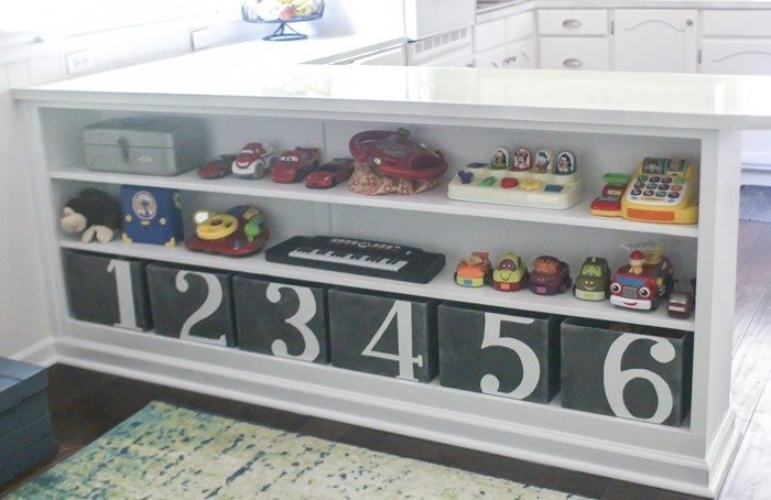 numbered toy bins