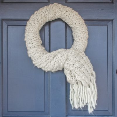 Quick and Easy Winter Wreath Made from an Upcycled Scarf