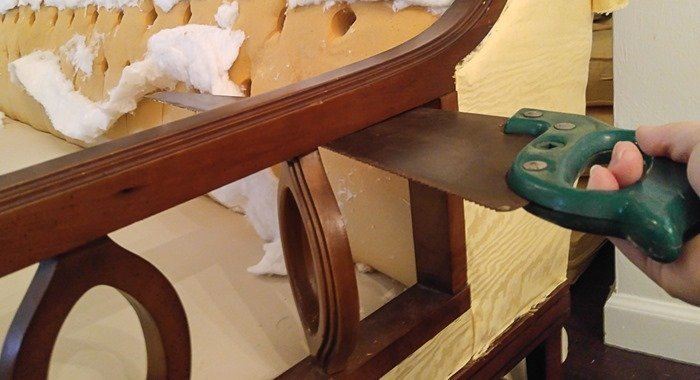 removing extra pieces from a vintage sofa