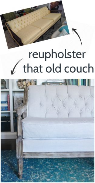DIY reupholstered couch. Detailed tutorial for using drop cloth upholstery to update an antique tufted sofa.