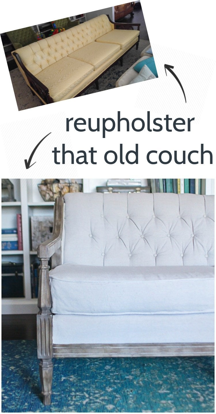 DIY reupholstered couch.