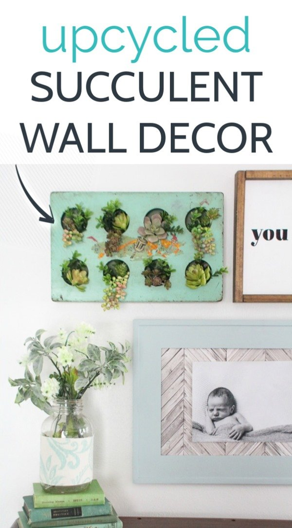 Create gorgeous succulent wall decor from a thrifted tray or muffin tin. This cute hanging garden of faux succulents is the perfect wall art for any indoor or outdoor space.
