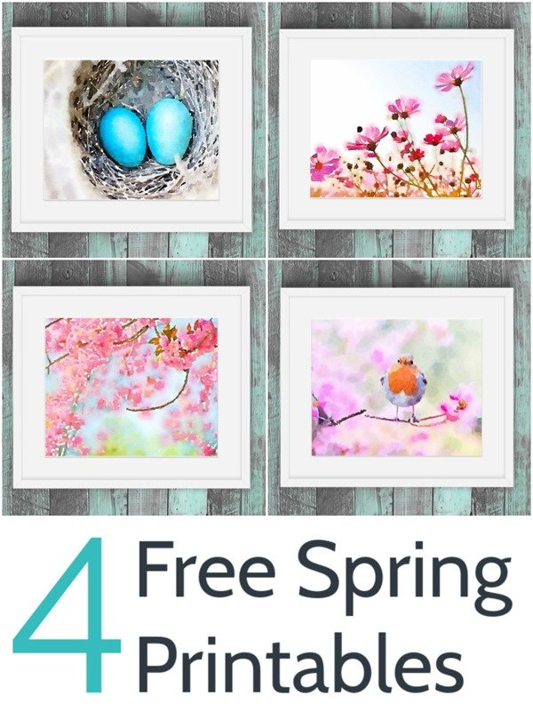 Freshen your home for spring with this colorful set of free spring art. These free watercolor printables include beautiful flowers, eggs in a nest, and the cutest little bird.
