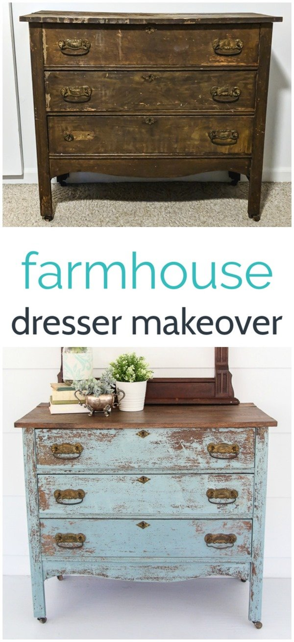 Turn an old worn out dresser into a gorgeous farmhouse dresser. You can use old fashioned milk paint to get a gorgeous, authentic looking chippy paint finish.