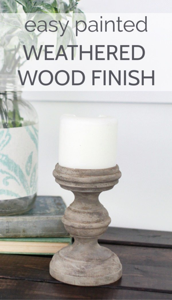 This weathered wood finish is easy to create in just a few simple steps using inexpensive craft paints. This finish is perfect for creating a light wood finish on furniture or other home decor without all the work of sanding or stripping off the old finish.