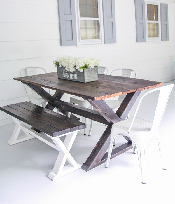 DIY x leg table, farmhouse bench, and shaker style shutters - three of the simple wooden DIY projects in Wood Plank Projects.