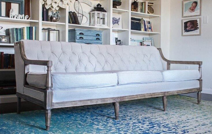 How To Reupholster A Couch On The Cheap Lovely Etc