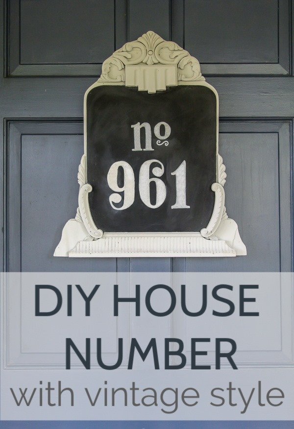 Make an easy DIY house number with tons of character. This charming upcycled house number is easy to make using a vintage mirror or frame.