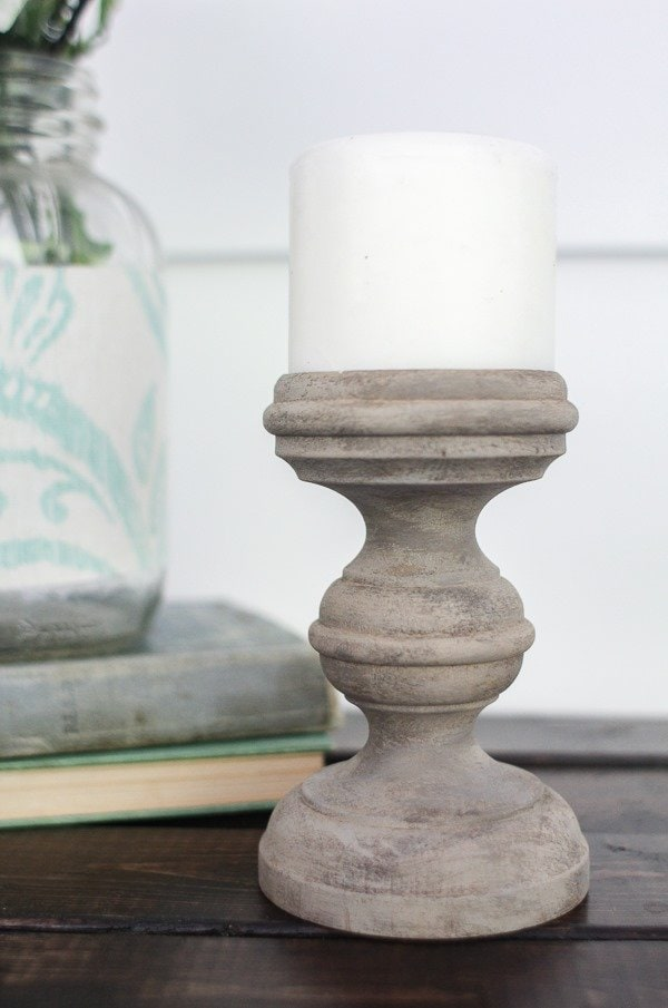 weathered wood paint finish on candlestick