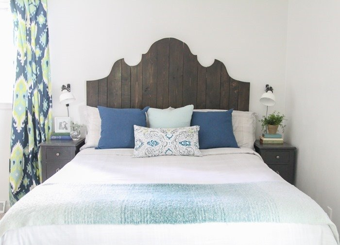 DIY curvy wood plank headboard