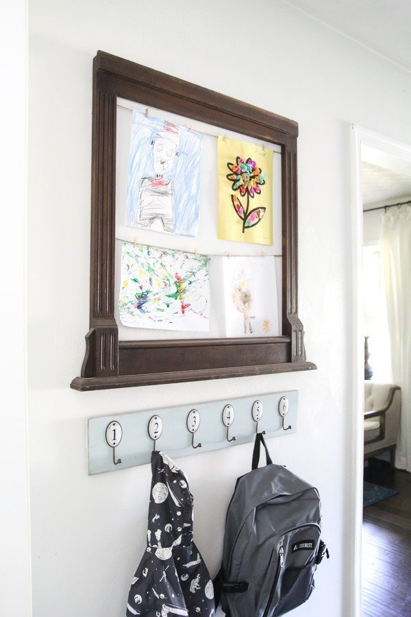 Kids art display frame and backpack station