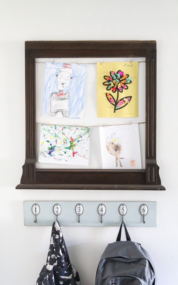 How to make an easy kids art display by upcycling an old frame.