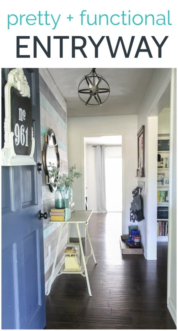 A small entryway that is both pretty and functional.  With DIY shoes storage, backpack organization, and a kids art display as well as a wood wall and upcycled lighting, this room is full of inexpensive DIY ideas to create a space that works for an active family.