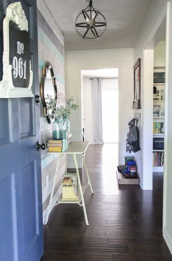 entryway with DIY orb chandelier