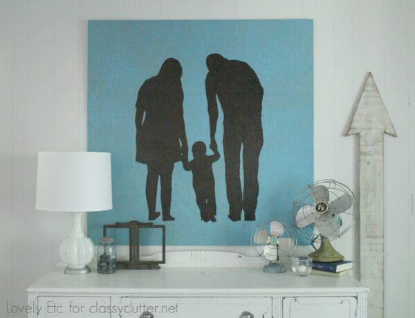 Huge wooden family silhouette.