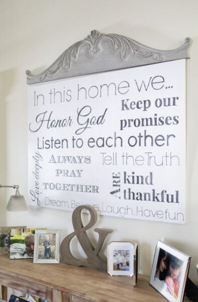 Large DIY family rules sign with helpful tips for getting perfect lettering.