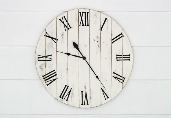 Finished DIY wooden clock with numbers transferred using simple pencil transfer.