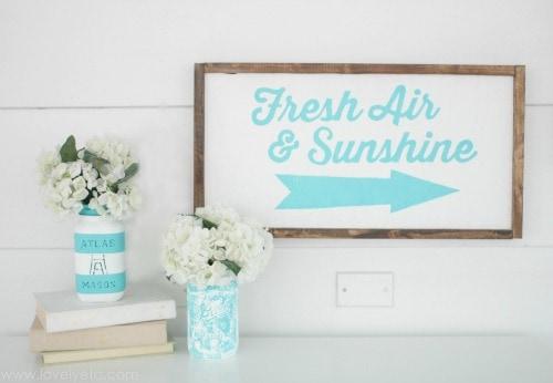 DIY wood sign that says Fresh Air and Sunshine.
