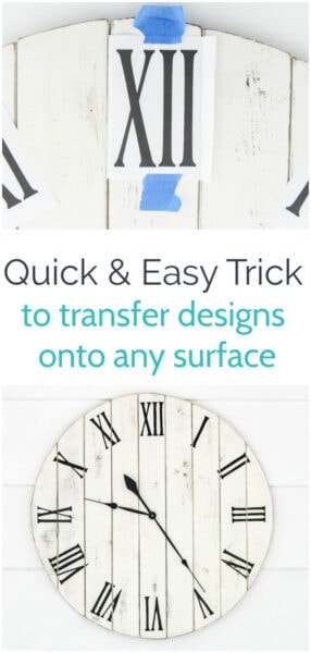 I love this simple method for transferring lettering and designs onto any surface including wood, walls, painted furniture, signs, and more. No fancy tools needed!