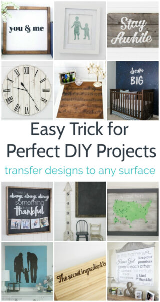 This is one of my favorite DIY tricks for getting a custom look on all of my DIY projects. I love this simple method for transferring lettering and designs onto any surface including wood, walls, painted furniture, signs, and more. No fancy tools needed!