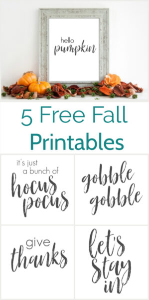 Five free fall printables. These simple neutral black and white fall printables will compliment your fall decor perfectly whether you like lots of traditional colors of prefer neutral fall decor. Includes five free printables: Hello pumpkin, gobble gobble, it's just a bunch of hocus pocus, give thanks, and let's stay in. Halloween printables, thanksgiving printables, plus a few printables for the entire fall.