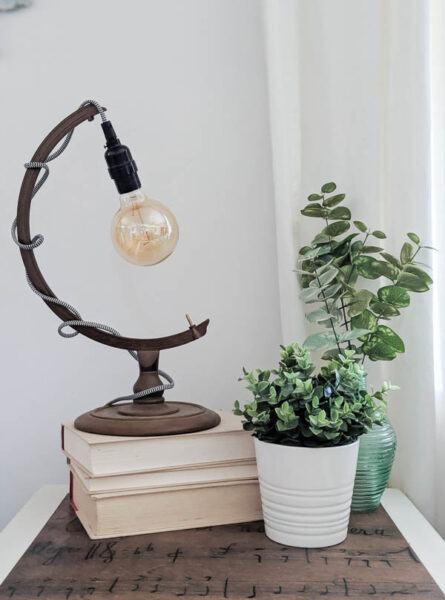 Easy DIY light upcycled from a globe stand. Such a fun, easy way to repurpose an old globe.