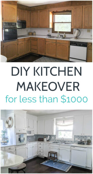 This dark dated kitchen was completely transformed into a bright, white modern farmhouse kitchen for less than $1000. With lots of tips for saving money and tutorials for painting cabinets, painting countertops, stenciling a backsplash, and more.