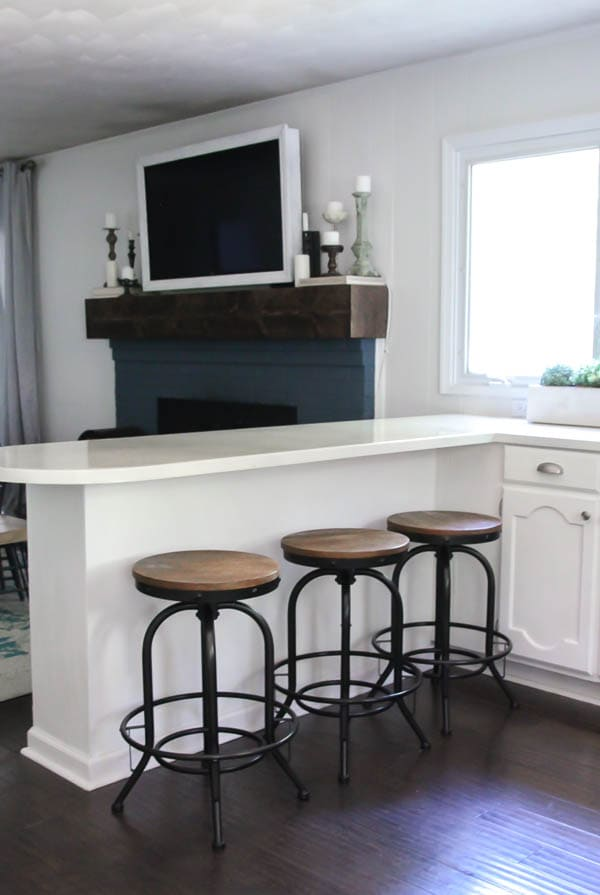 white painted countertops with black industrial barstools