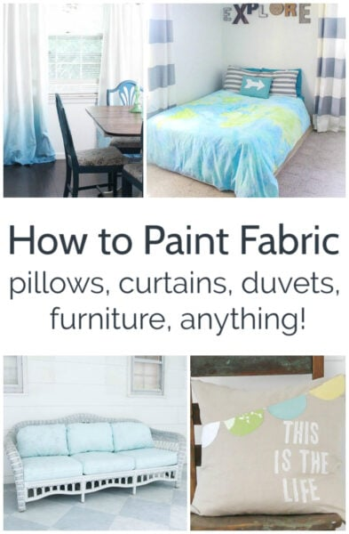 How to paint fabric for inexpensive DIY curtains, pillows, duvets, furniture, and more. Learn what paints are best for fabric and how to paint fabric so it's beautiful, soft, and washable.