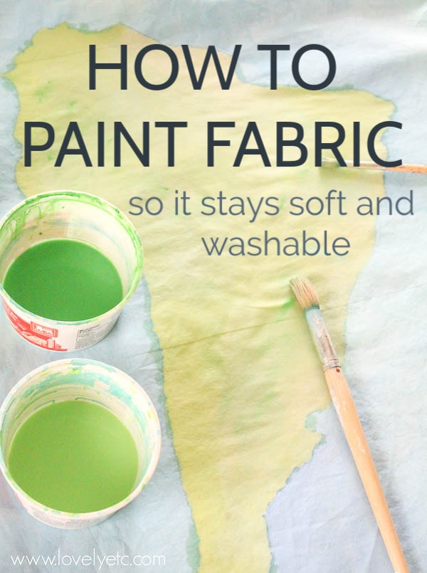 How to paint fabric so it stays soft and washable. Learn everything you need to know to paint pillow covers, curtains, even a duvet cover. Including which paints are best to use for fabric.