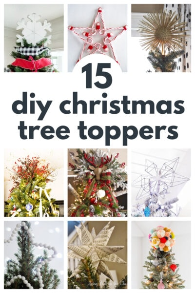 collage of 9 diy christmas tree toppers
