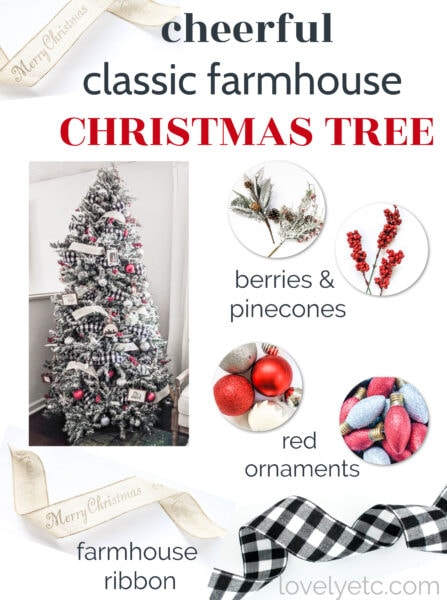 Bring cheerful classic farmhouse style to your own Christmas tree with splashes of red, handmade farmhouse ornaments, and buffalo plaid ribbon. Find all of the sources and information at the link.