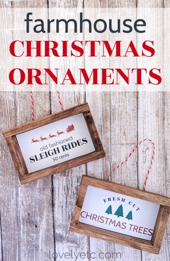 handmade mini farmhouse sign Christmas ornaments that say old fashioned sleigh rides fifty cents and fresh cut christmas trees
