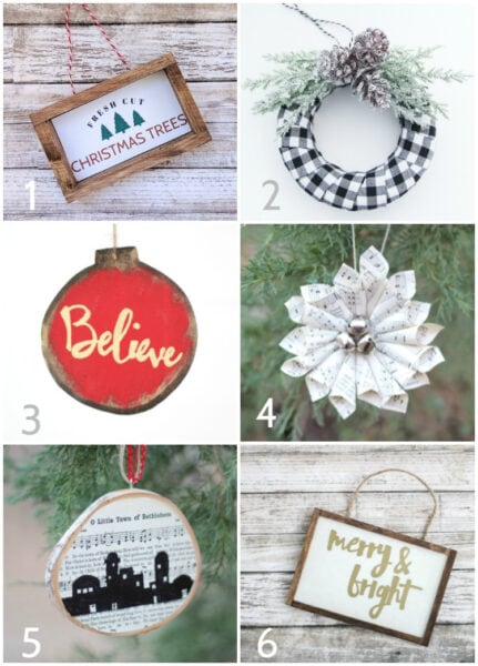DIY Farmhouse Christmas ornaments. These gorgeous ornaments are quick and easy to make with step by step tutorials for each ornament.