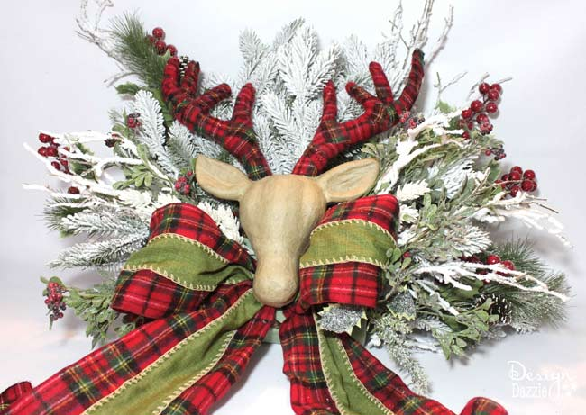 How to Make a Floral Deer / Reindeer Head Christmas Tree Topper & Centerpiece
