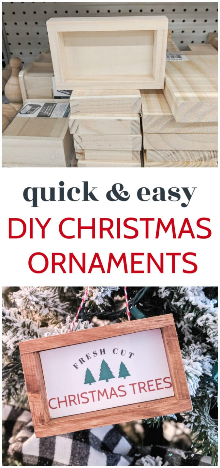 These DIY farmhouse Christmas ornaments are incredibly easy to make. Using simple, inexpensive materials from the craft store and the included free printables, you can make a stack of these in only a few minutes.