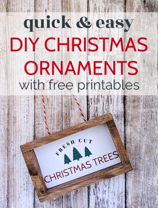 DIY Christmas ornament that looks like a mini wooden sign saying fresh cut Christmas trees.