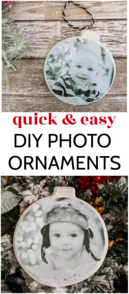 These DIY Photo Ornaments are super quick and easy to make. No complicated methods - just easy handmade photo ornaments. These personalized ornaments are perfect for decorating your own Christmas tree or giving as gifts.