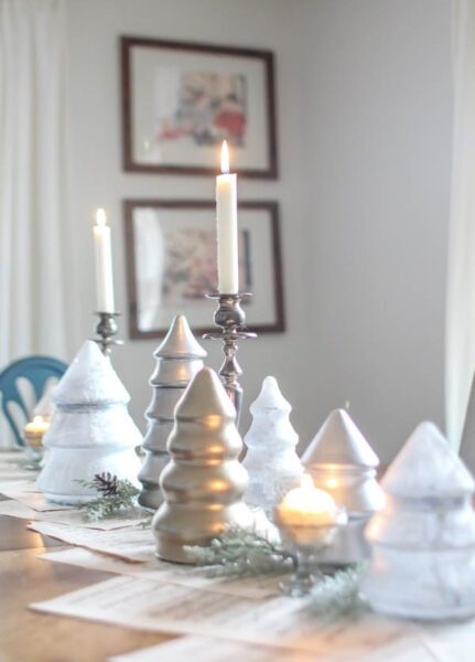 Inexpensive silver and gold Christmas centerpiece.