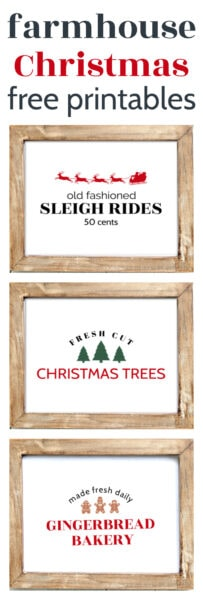 Free Farmhouse Christmas Printables. These simple Christmas printables are perfect to print and frame for the holidays. Including three designs: Fresh Cut Christmas Trees, Old Fashioned Sleigh Rides, and Gingerbread Bakery.