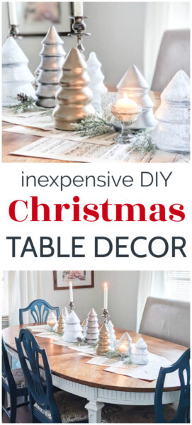 This silver and gold Christmas centerpiece is beautiful with just the right amount of sparkle. Even better, this simple Christmas table decor is incredibly inexpensive to make using thrift store staples.