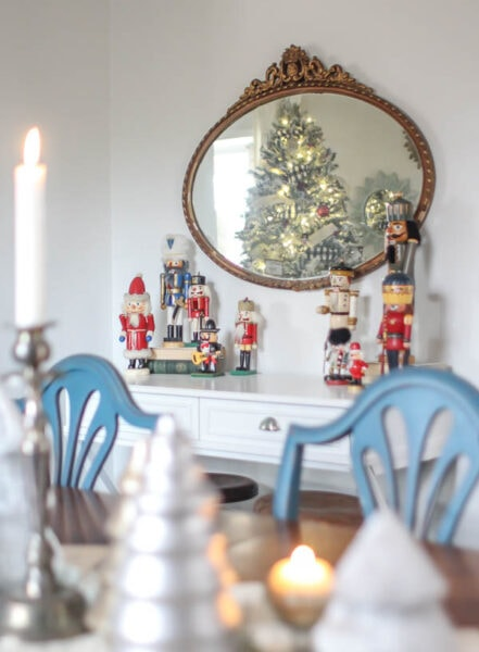 decorating for Christmas with vintage nutcrackers