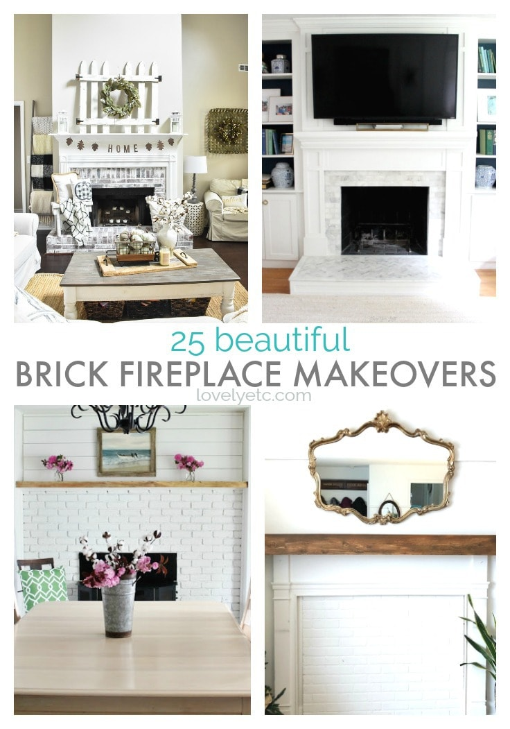 25 beautiful brick fireplace makeovers collage