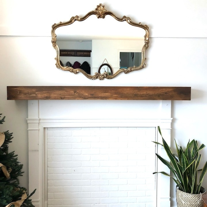 Faux Fireplace Overmantel Makeover with Faux Brick Paneling
