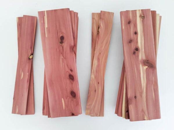 cedar planks cut to make diy wood storage box