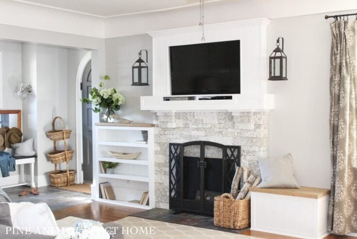 Brick Fireplace Makeover with AirStone