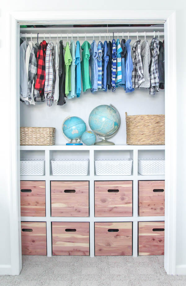 closet shelves and diy wood storage cube boxes